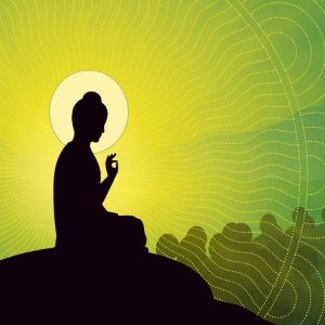Buddha-green-background